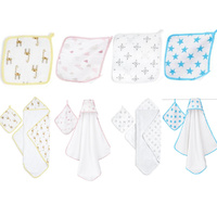 Aden + Anais Bubble Hooded Terry Towel and Cotton Muslin washcloth set
