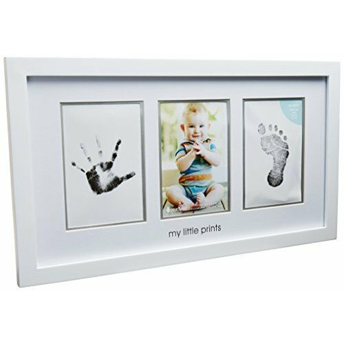 Pearhead Babyprints Newborn Baby Handprint And Footprint Photo Frame Kit White