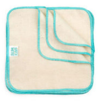 Bumkins - Reusable Baby Wipes Cloth - Natural/Aqua Trim 12 Pack