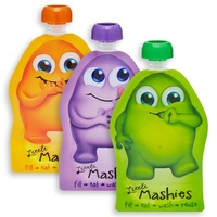 Little Mashies Reuseable Food Pouches 10 Pack mixed colours