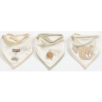 Natures Purest Organic Cotton Hug Me Bear Set Of 3 Bibs Gift Boxed