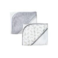 Little Linen Hooded Towel 2 Pack Grey Bunnies