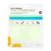 Silicone Reusable Food Storage Bags - Pack Of Two x 1 litre - Is Gifts